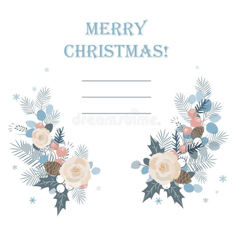 Abstraktes Hintergrundmuster der weißen Sterne auf dunkelroter Auslegung Weihnachtsrahmen gemacht von den Tannenblättern und von  lizenzfreie abbildung