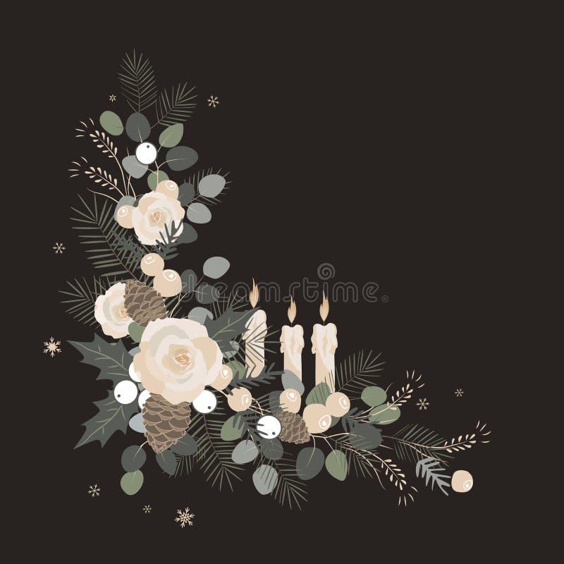 Abstraktes Hintergrundmuster der weißen Sterne auf dunkelroter Auslegung Weihnachtsrahmenelement gemacht von den Tannenzweigen un lizenzfreie abbildung