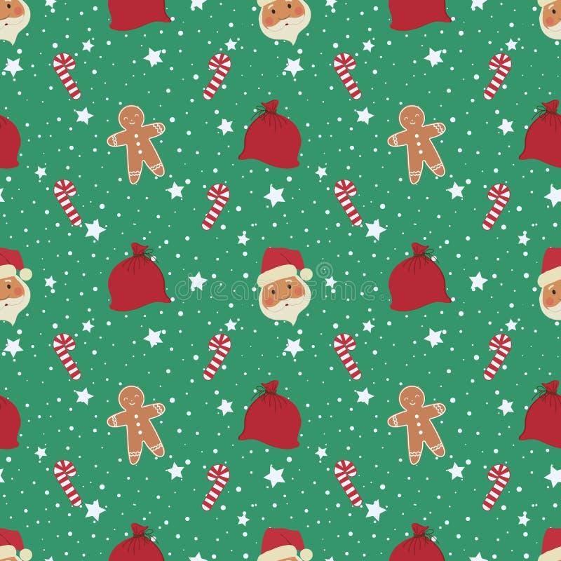 Abstraktes Hintergrundmuster der wei?en Sterne auf dunkelroter Auslegung Nahtloses Muster mit Santa Claus-Köpfen, Lebkuchen Mann, lizenzfreie abbildung