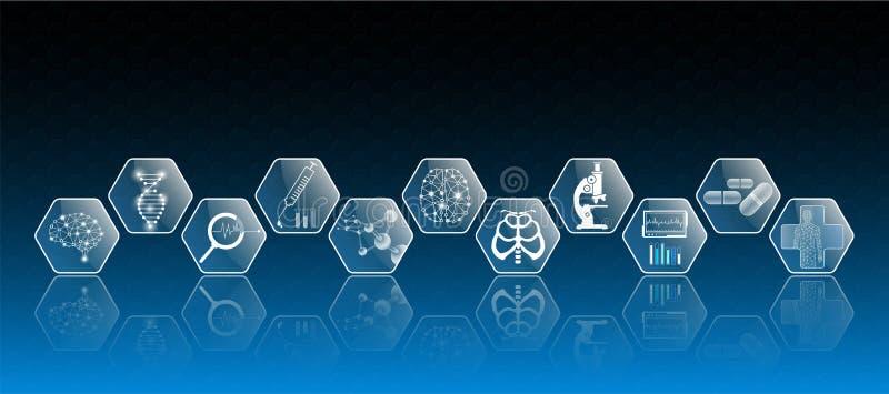 Abstraktes Hintergrundtechnologiekonzept und -ikone im Blaulicht, im Gehirn und im menschlichen Körper heilen vektor abbildung