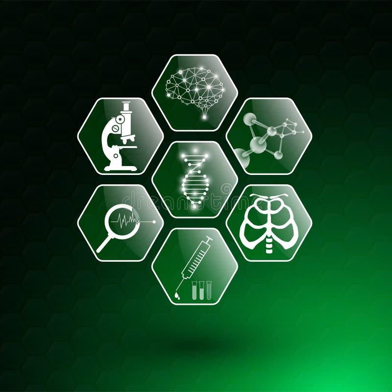 Abstraktes Hintergrundtechnologiekonzept und -ikone im grünen Licht, im Gehirn und im menschlichen Körper heilen stock abbildung