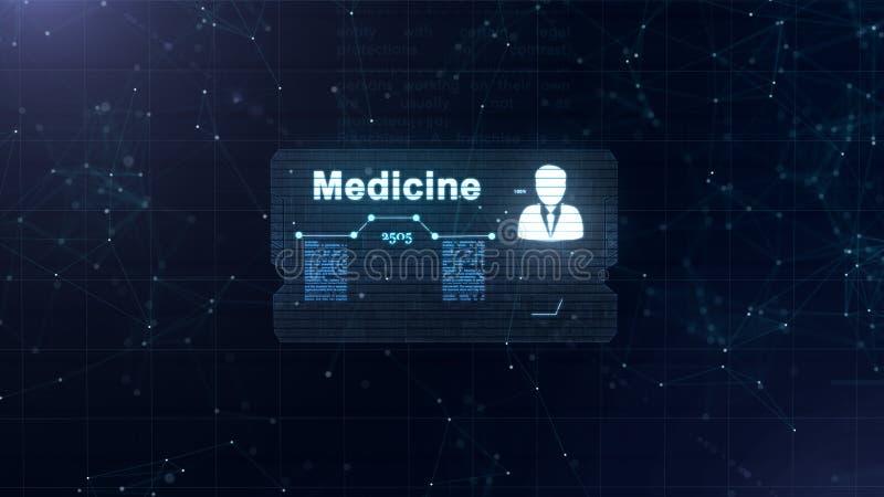 Abstraktes Hologramm Medizinkarte Mit Hauptschu Und Zeichen