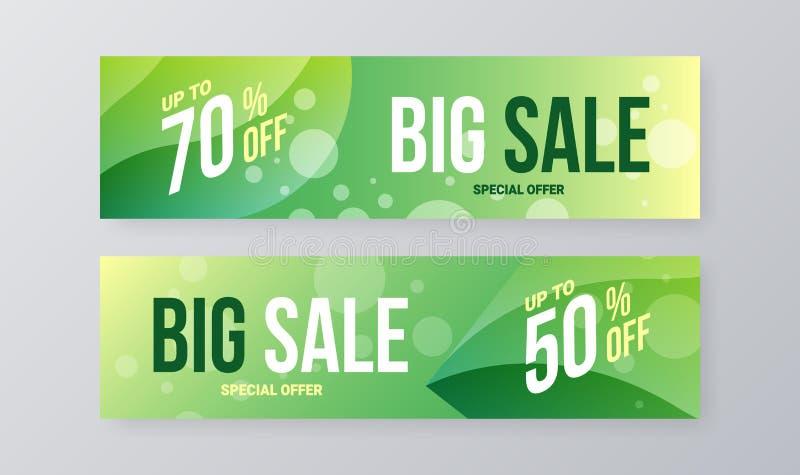 Abstraktes horizontales Verkaufsvektorfahnenschablonen-Entwurfsbündel Sonderangebotrabattsocial media-Illustrations-Plansatz stock abbildung