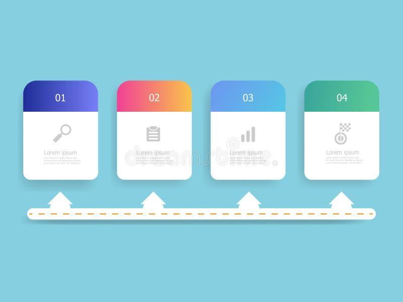 Abstraktes horizontales Zeitachse infographics 4 Schritte stock abbildung