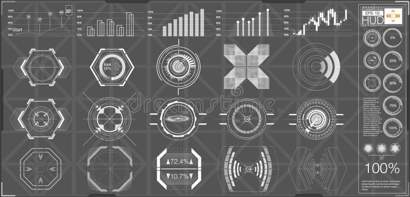 Abstraktes HUD Futuristischer Benutzerschnittstellen-Satz Sci FI moderner lizenzfreie abbildung