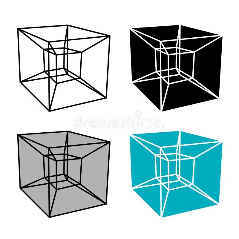 Abstraktes hypercube einfaches Symbol vektor abbildung