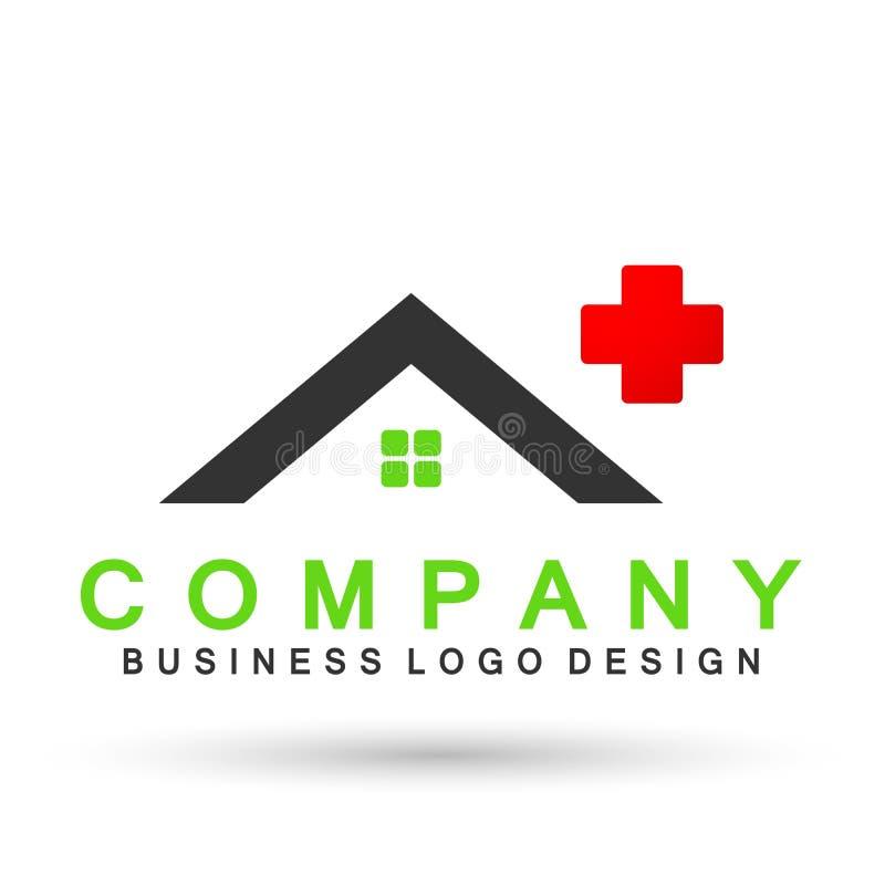 Abstraktes Immobilien medizinisches Krankenhaus-Hausdach und Hauptlogovektorelementikonenentwurfsvektor auf weißem Hintergrund lizenzfreie abbildung