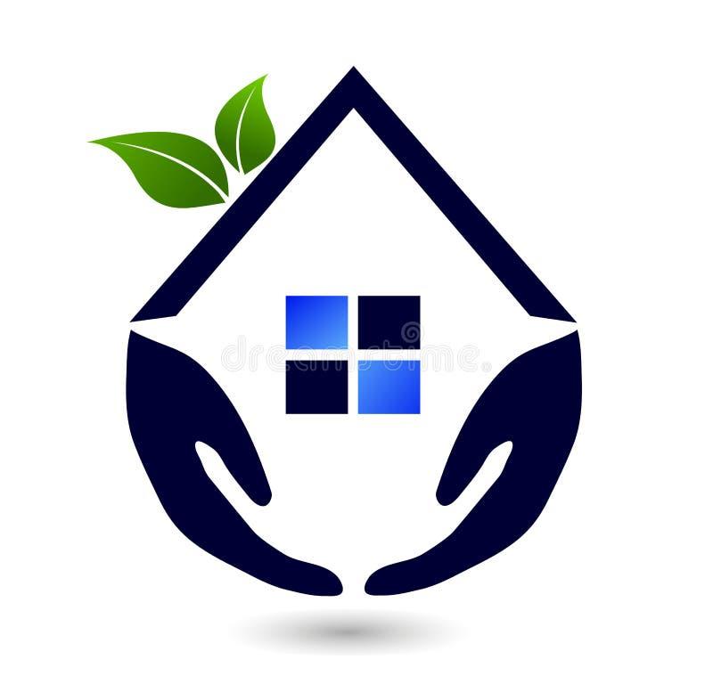 Abstraktes Immobilienleutefamilie Dach grünen Hauses und Hauptlogovektorelementikonenentwurfsvektor auf weißem Hintergrund stock abbildung