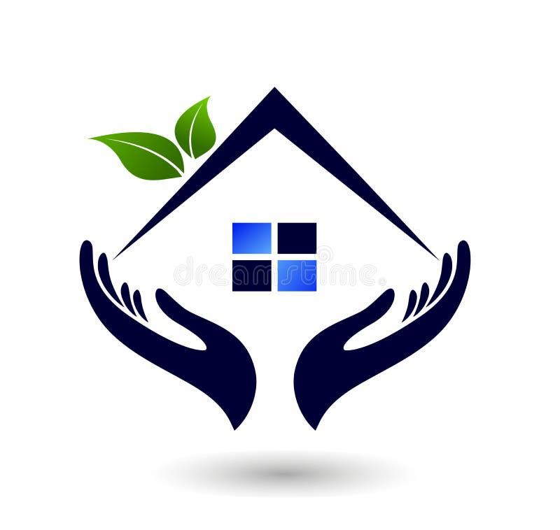 Abstraktes Immobilienleutefamilie Dach gr?nen Hauses und Hauptlogovektorelementikonenentwurfsvektor auf wei?em Hintergrund stock abbildung
