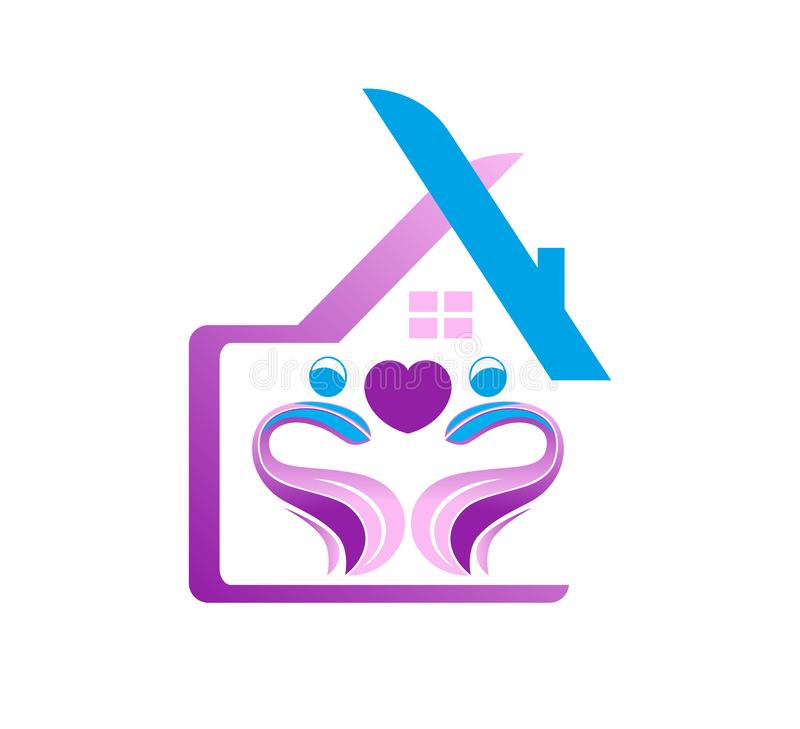 Abstraktes Immobilienleutefamilie Hausdach und Hauptlogo stock abbildung