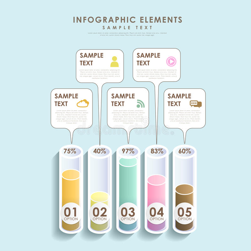 Abstraktes infographics Balkendiagramm des Rohrs 3d lizenzfreie abbildung