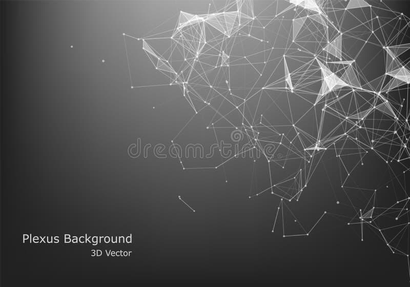 Abstraktes Internetanschluss- und Technologiegrafikdesign geometrische digitale Verbindungsstruktur des Computers Futuristisches  stock abbildung