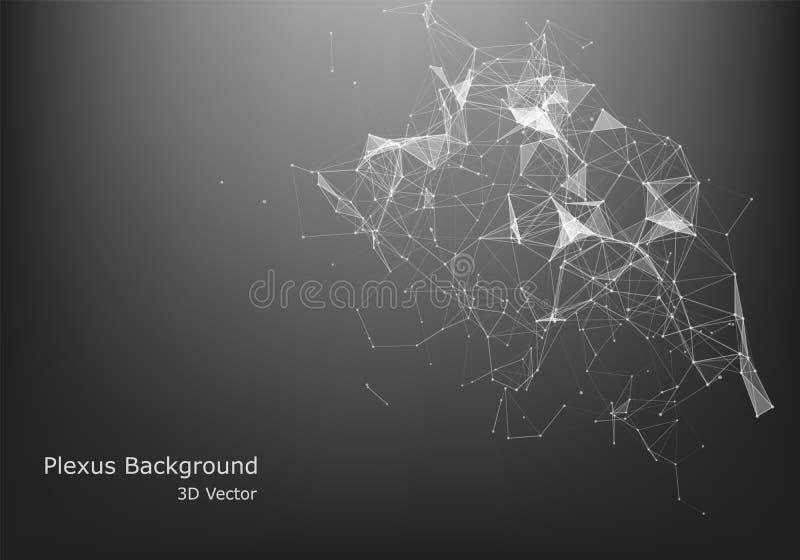 Abstraktes Internetanschluss- und Technologiegrafikdesign geometrische digitale Verbindungsstruktur des Computers Futuristisches  lizenzfreie abbildung
