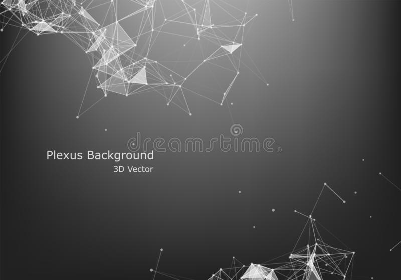 Abstraktes Internetanschluss- und Technologiegrafikdesign polygonaler Hintergrund, geometrischer Hintergrund mit Punkten, Linien, lizenzfreie abbildung