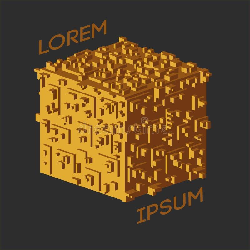 Abstraktes isometrisches Würfel-Logo Auch im corel abgehobenen Betrag Lokalisierte Ikone Vektorbild, Abbildung vektor abbildung