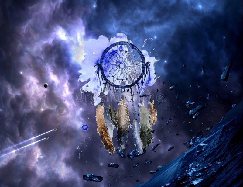 Abstraktes künstlerisches Aquarell eines mehrfarbigen Traumfängers auf einem bunter Nebelfleck-galaktischen Grafik-Hintergrund lizenzfreies stockfoto