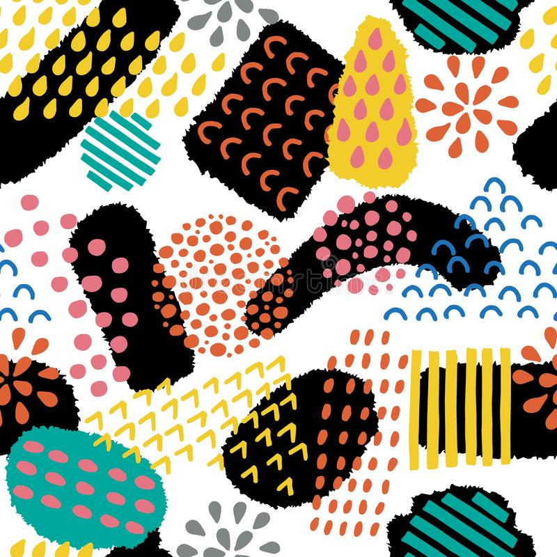 Abstraktes künstlerisches nahtloses Muster Farbiger kreativer Hintergrund mit abstrakten Formen Die gezeichnete Hand masert Illus lizenzfreie abbildung