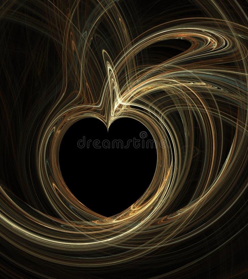 Abstraktes künstliches computererzeugtes wiederholendes Flamme Fractal-Kunstbild eines Apfels stock abbildung