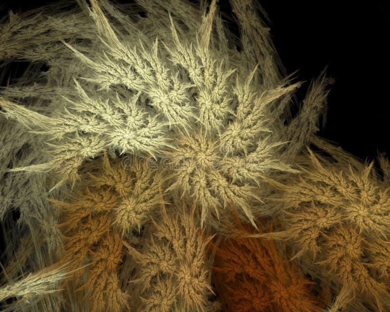 Abstraktes künstliches computererzeugtes wiederholendes Flamme Fractal-Kunstbild eines gewundenen Shells stock abbildung