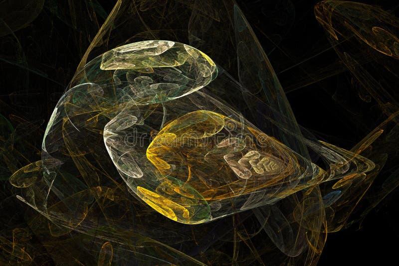 Abstraktes künstliches computererzeugtes wiederholendes Flamme Fractal-Kunstbild eines Papageienvogels stock abbildung