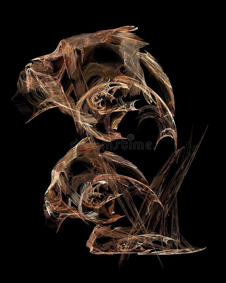 Abstraktes künstliches computererzeugtes wiederholendes Flamme Fractal-Kunstbild eines Schachpferds lizenzfreie abbildung
