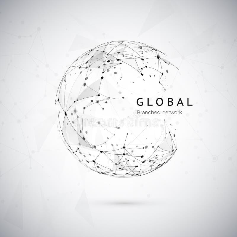 Abstraktes Konzept des globalen Netzwerks Netzstruktur, soziales fängt Konzept, Knotennetz Punkte und Verbindungsmasche lizenzfreie abbildung