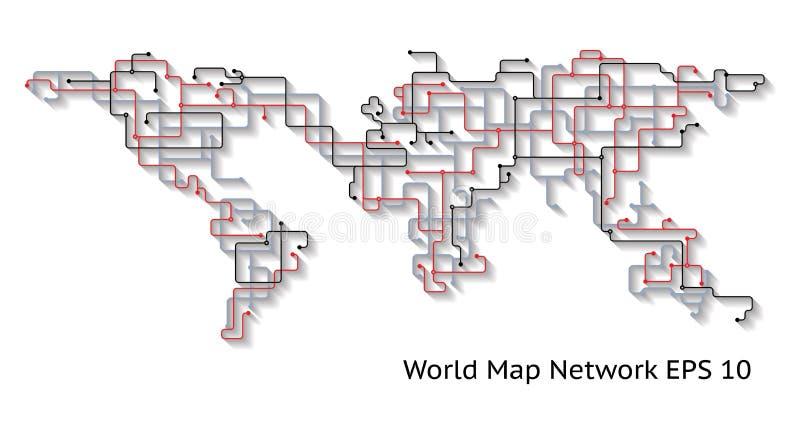 Abstraktes Konzept des World Earth Map Network mit Shadows, das Konnektivität zeigt vektor abbildung