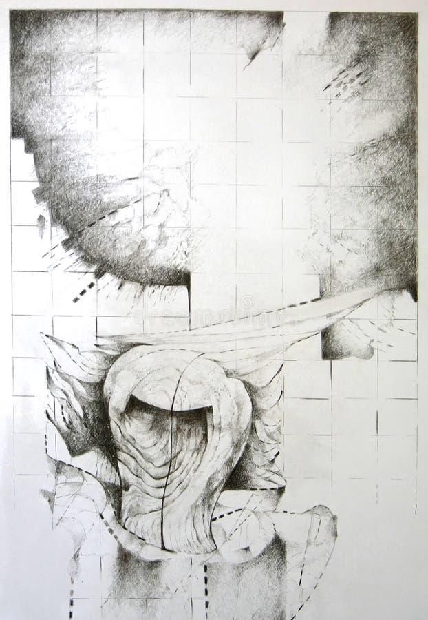 Abstraktes Konzept - hölzerne Form lizenzfreie abbildung