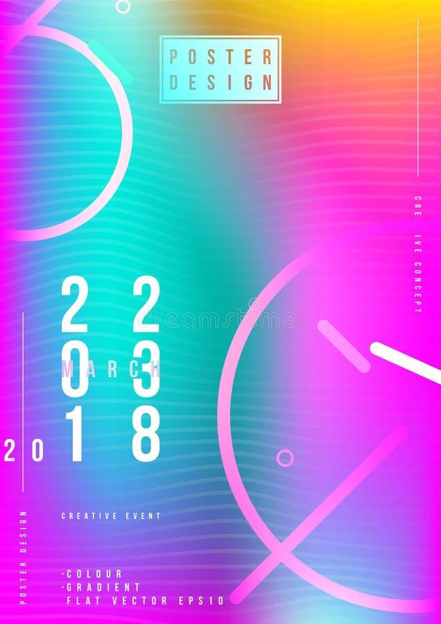Abstraktes kreatives Designplakat für kreatives Ereignis mit bunter Steigung Futuristische Abdeckung der Schablone Flache Illustr stock abbildung