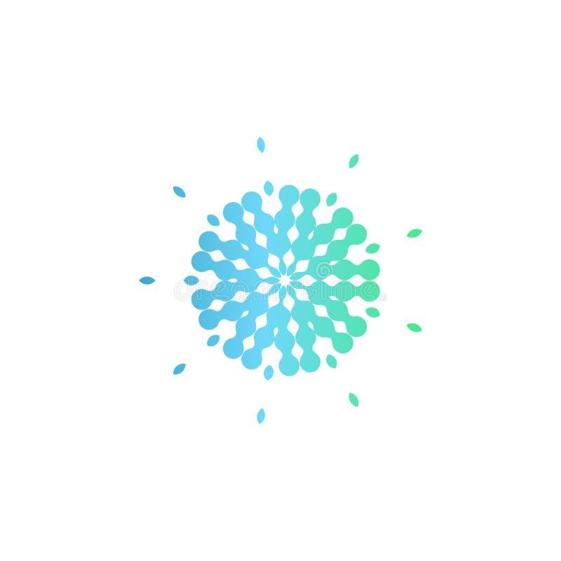 Abstraktes Kreislogo des Blaus und des Türkises Medizinische Entwicklung der neuen Technologie, ungewöhnliches Apothekenzeichen,  vektor abbildung