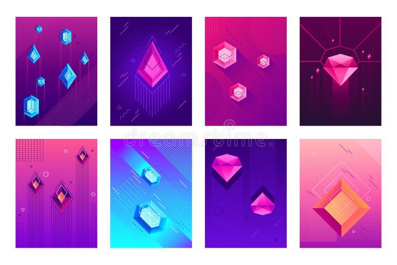 Abstraktes Kristallplakat Kristallsteine des kostbaren Juwels, Juweldiamantedelsteine und lokalisierter Vektor des Hippie-Edelste lizenzfreie abbildung