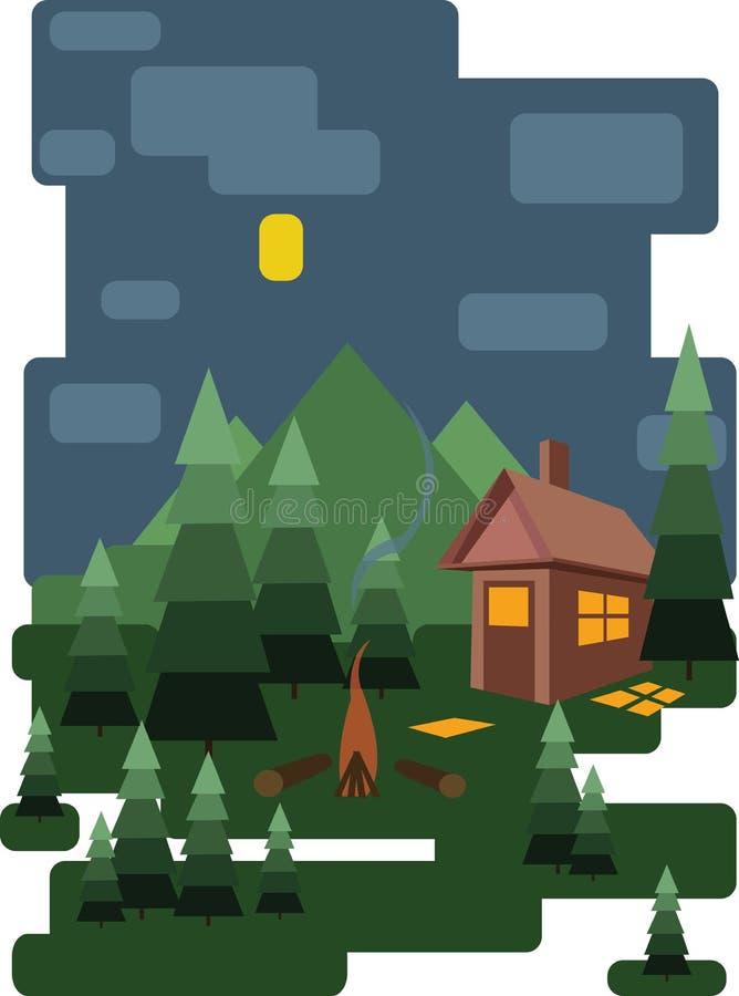 Abstraktes Landschaftsdesign mit grünen Bäumen und Wolken, ein Haus im Wald und Feuerplatz nachts, flache Art vektor abbildung