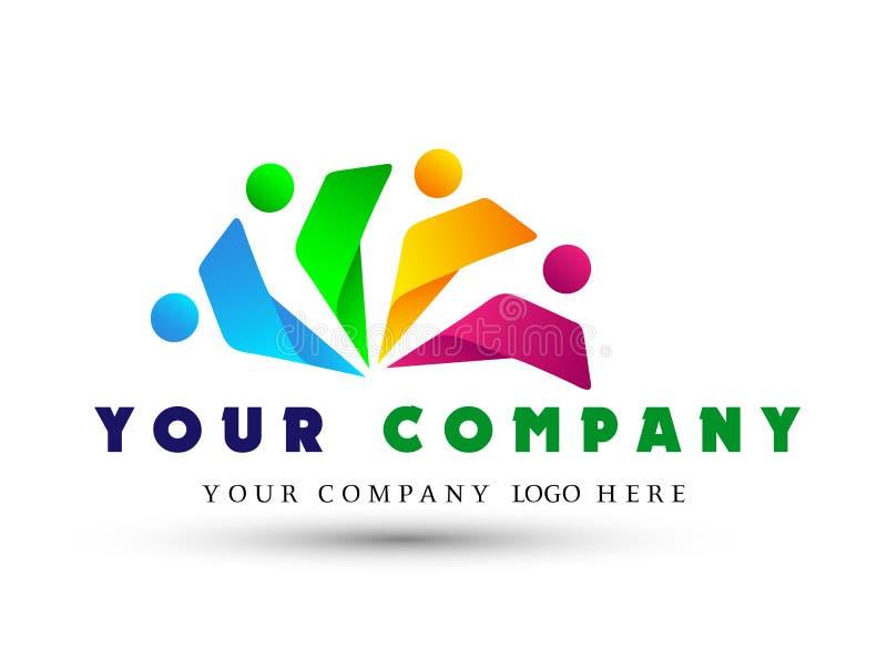 Abstraktes Leute-Verbandsteam, Gruppenarbeit Logo auf investiertem erfolgreichem Unternehmenslogo des Geschäfts Finanzinvestition lizenzfreie abbildung