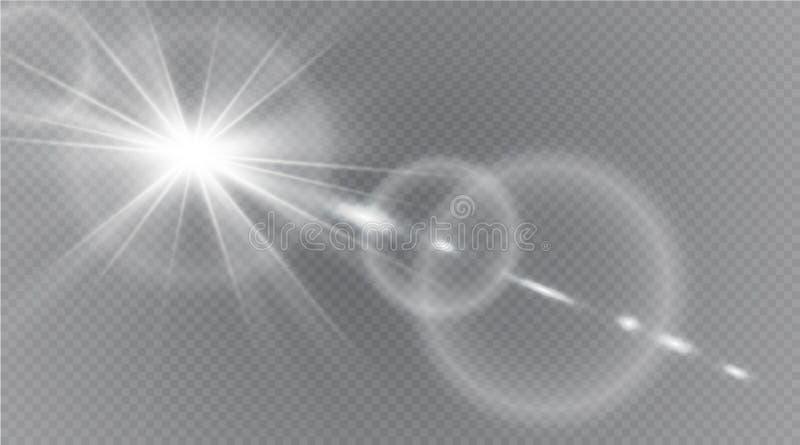 Abstraktes Lichteffektdesign der Sonneneruption der Linsengoldfront transparentes spezielles vektor abbildung