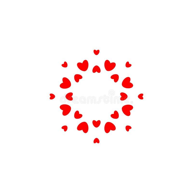 Abstraktes Liebeslogo Kreis von Herzen Feld für Liebesfoto Gl?ckliches Familiensymbol Vektor lokalisierte Emblemschablone an lizenzfreie abbildung
