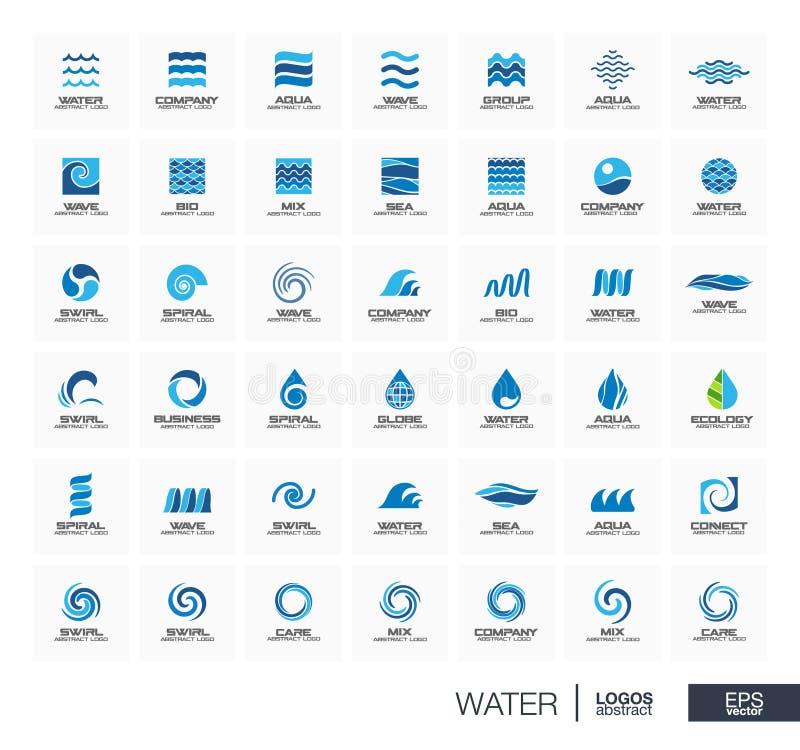 Abstraktes Logo eingestellt für Unternehmen Spielen Sie, Wasserwelle, Tropfen anschließen Konzept die Hauptrolle Kreis, Quadrat,  stock abbildung