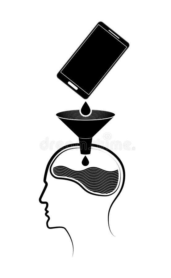 Abstraktes Logo oder Emblem Informationen gelangen von einem Handy an ein Gehirn der Person s stockbilder