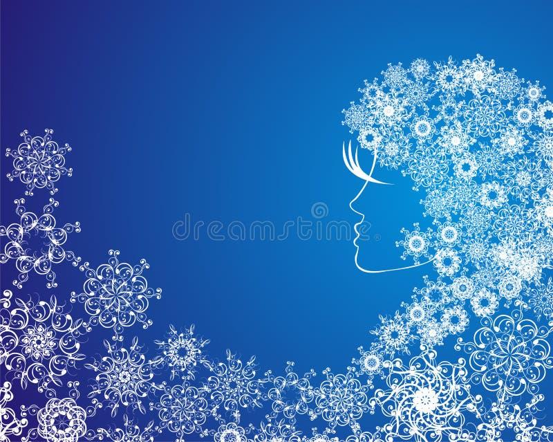 Abstraktes Mädchen mit Schneeflocken im Haar vektor abbildung