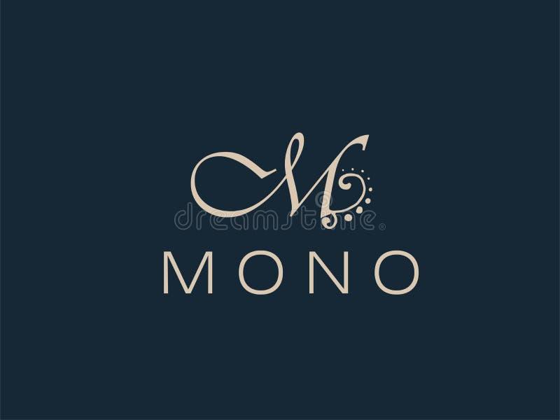 Abstraktes M Letter Monogram Elegant Logo Design vektor abbildung