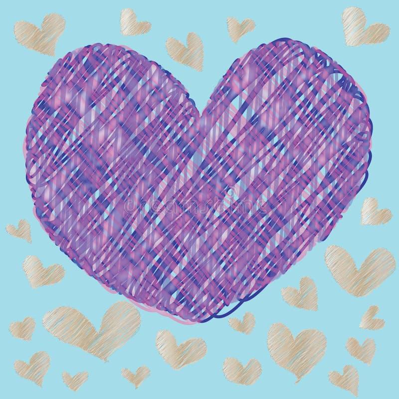 Abstraktes magisches buntes Herz auf blauem Hintergrund stock abbildung