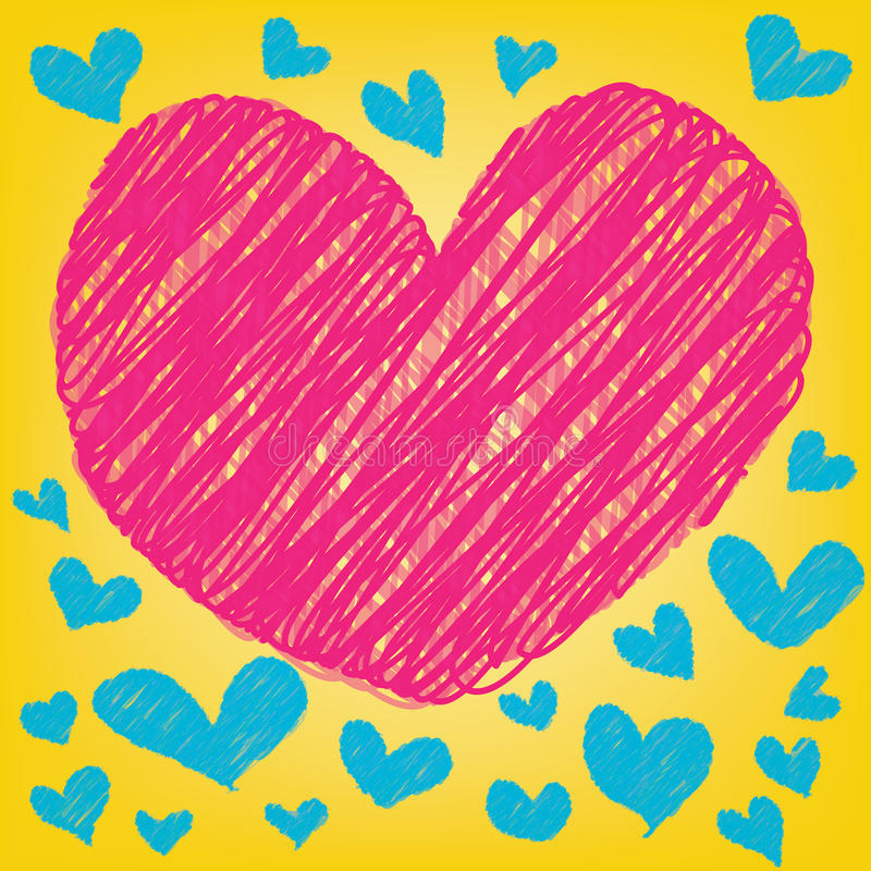 Abstraktes magisches buntes Herz auf gelbem Hintergrund vektor abbildung