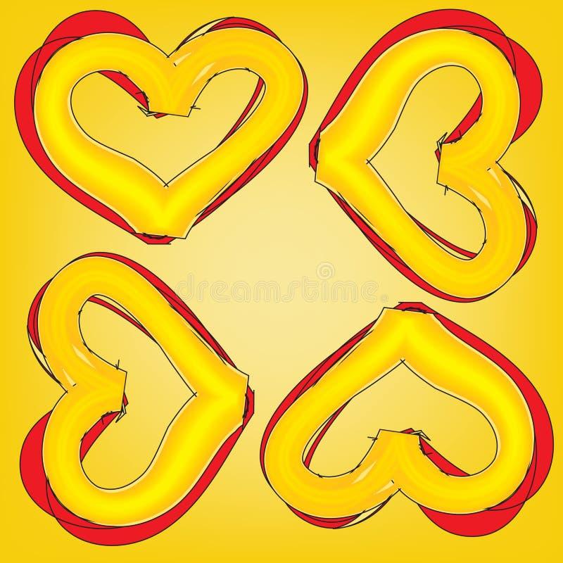 Abstraktes magisches buntes Herz auf gelbem Hintergrund lizenzfreie abbildung