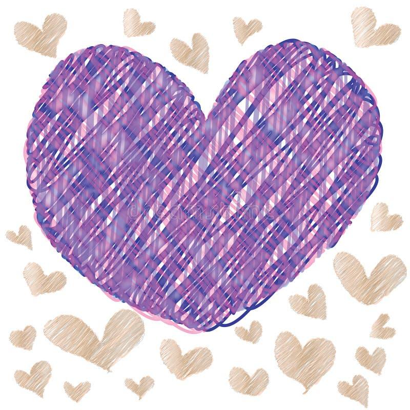 Abstraktes magisches buntes Herz auf weißem Hintergrund stock abbildung