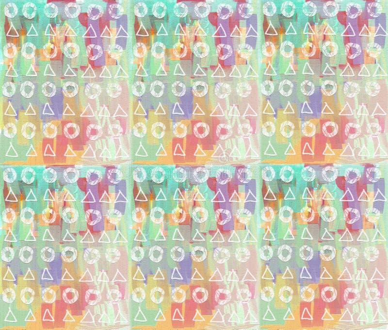 Abstraktes Malereimuster Bunte Tropfen, Dreiecke, Kreise lizenzfreie abbildung