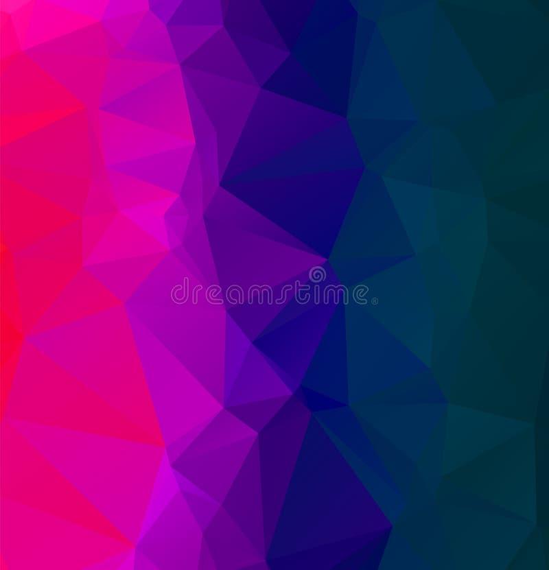 Abstraktes Mehrfarbenblau und purpurroter Hintergrund Polygonaler Entwurfsillustrator des Vektors lizenzfreie abbildung