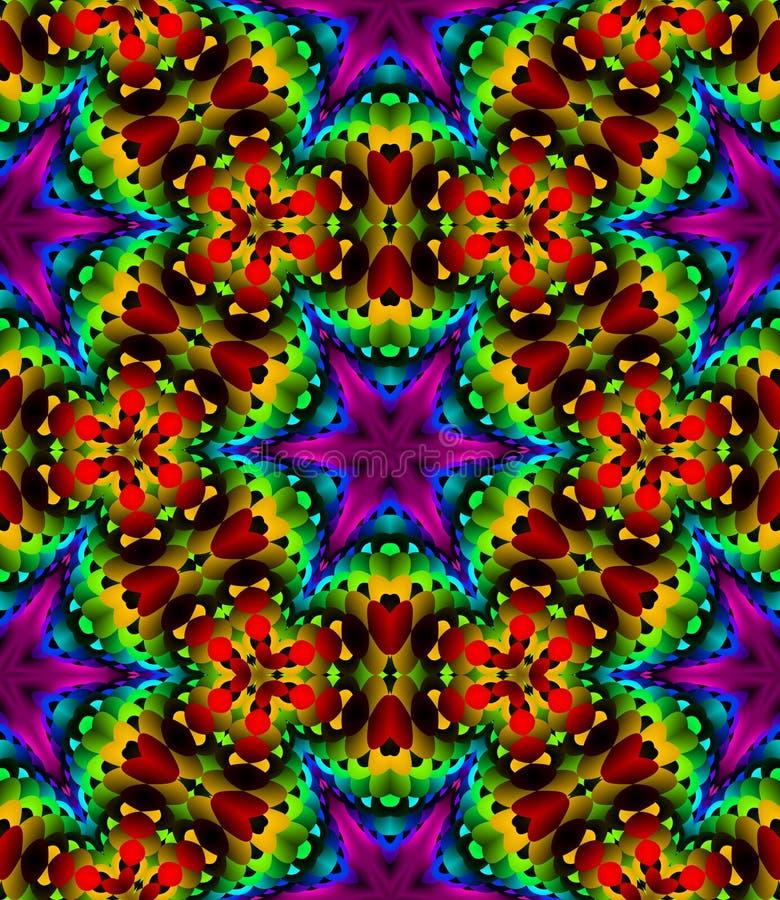 Abstraktes Mehrfarbenblumenmosaikmuster, bunter Fliesenbeschaffenheitshintergrund, Regenbogen färbte nahtlose Illustration lizenzfreie abbildung