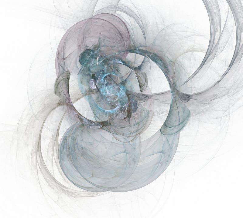 Abstraktes Mehrfarbenhintergrundelement auf Weiß Dynamische Illustration von Kurven und von Gitter Ausführliche Fractalgraphiken lizenzfreie abbildung