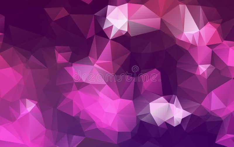 Abstraktes Mehrfarbenpurpur, rosa polygonale Illustration, die aus Dreiecken bestehen Geometrischer Hintergrund in der Origamiart lizenzfreie abbildung