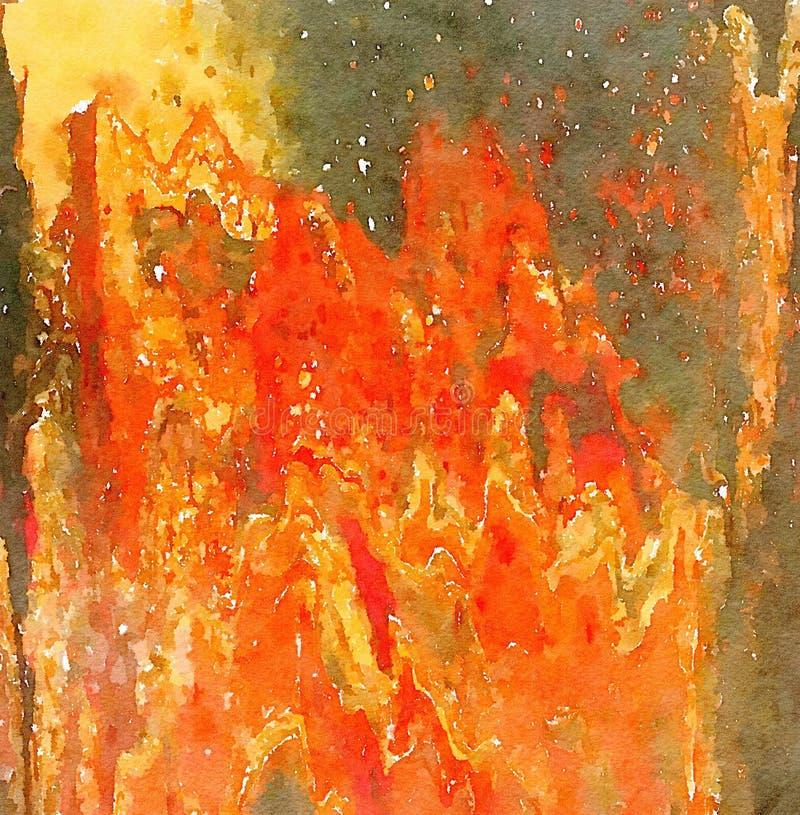 Abstraktes mehrfarbiges Aquarell malte Hintergrund in der Leuchtorange und in den Gelbfarben lizenzfreie abbildung