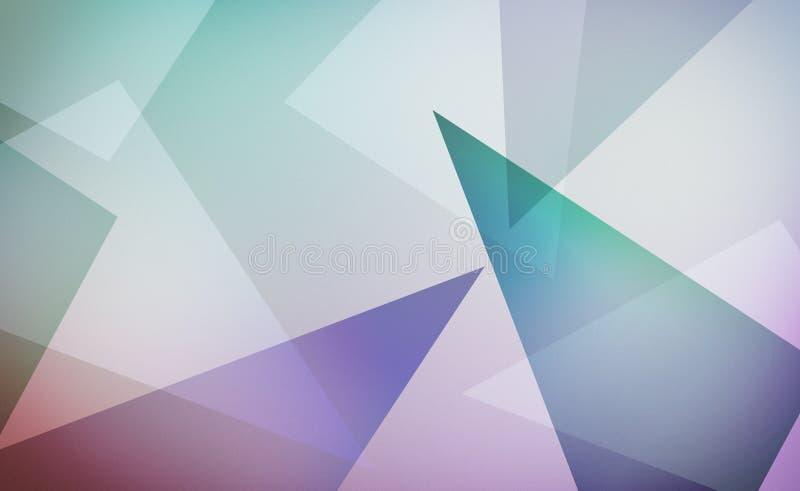 Abstraktes modernes Design mit den Schichten blauem Grün purpurrot und den weißen Dreiecken auf weichem weißem Hintergrundplan lizenzfreie abbildung